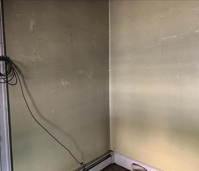 soot on wall looks grayish